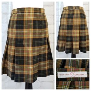 Vtg Foxhound & Pheasant 6 Tartan Plaid Wool Skirt